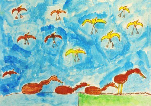 Maja Zagorec: Ptice ob jezeru