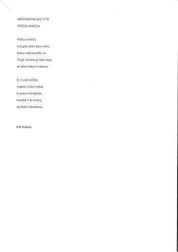 Erik Rožanc: Ptičica siničica