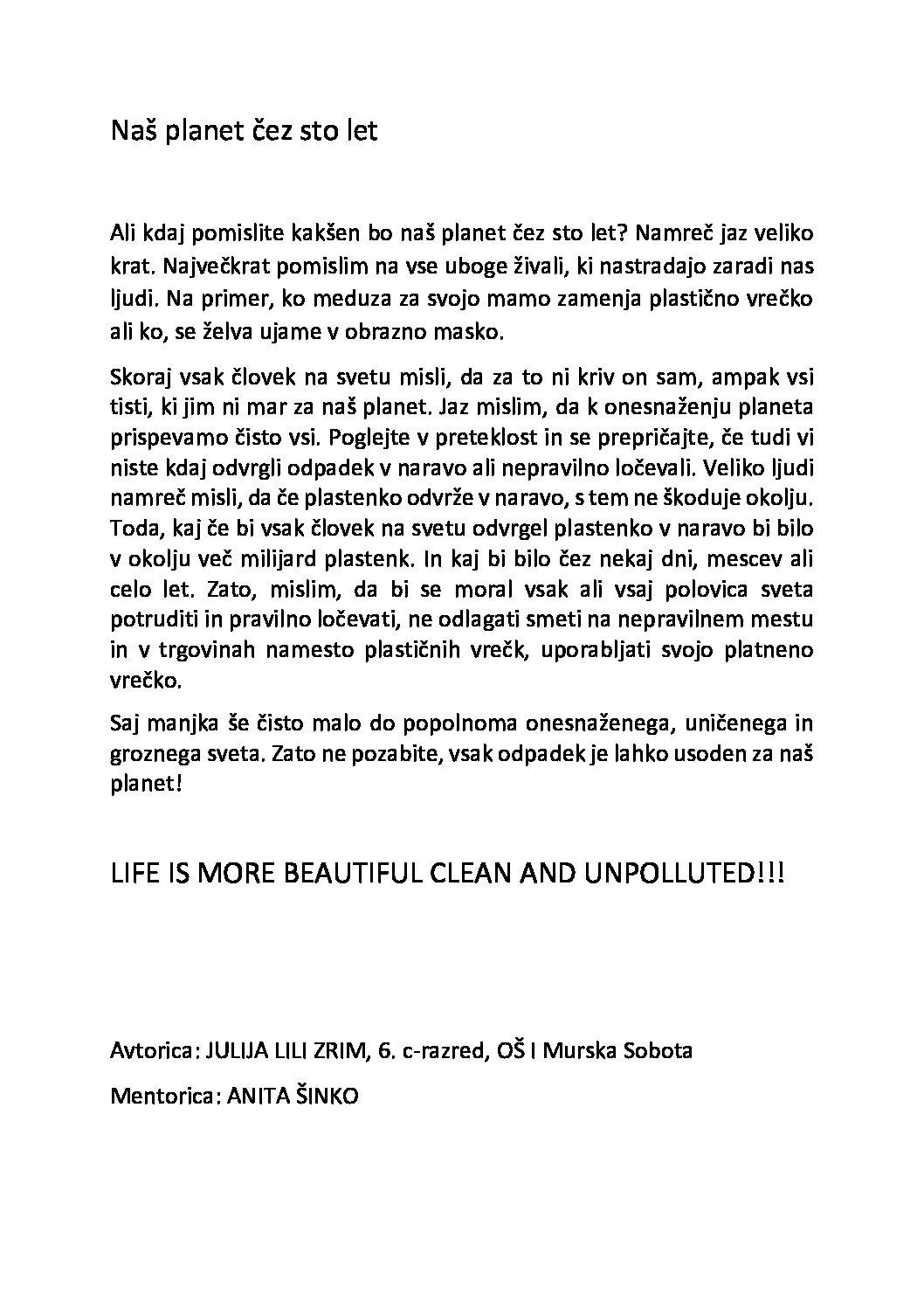 Julija Lili Zim: Naš planet čez 100 let