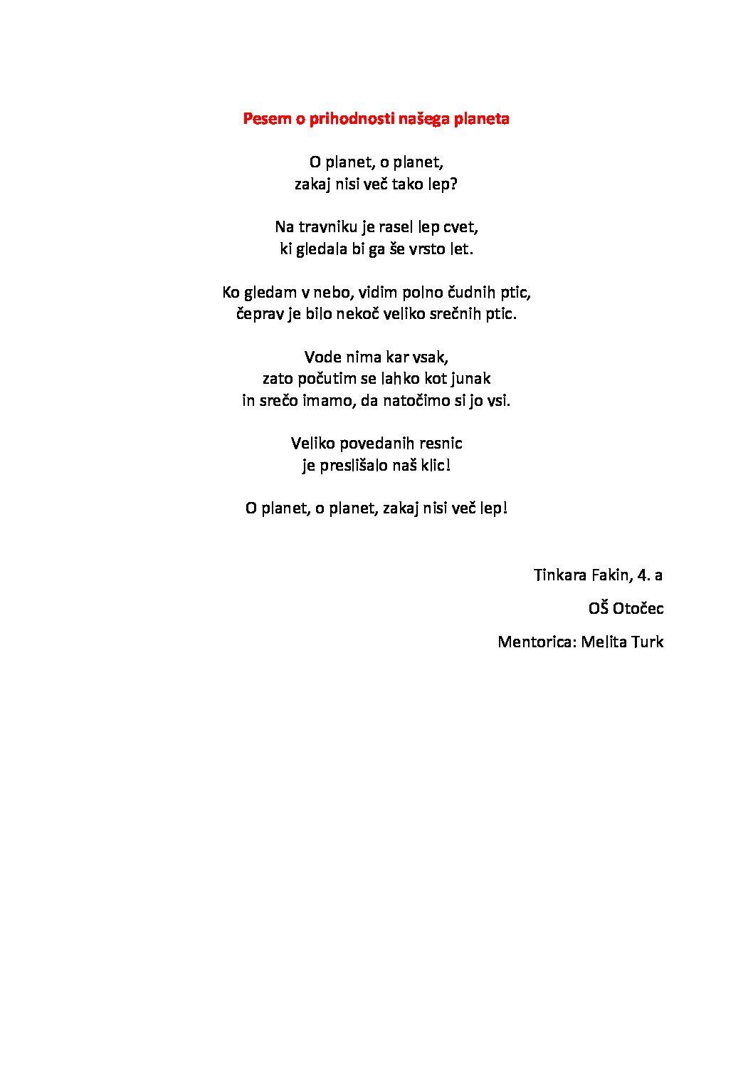 Tinkara Fakin: Pesem o prihodnosti našega planeta
