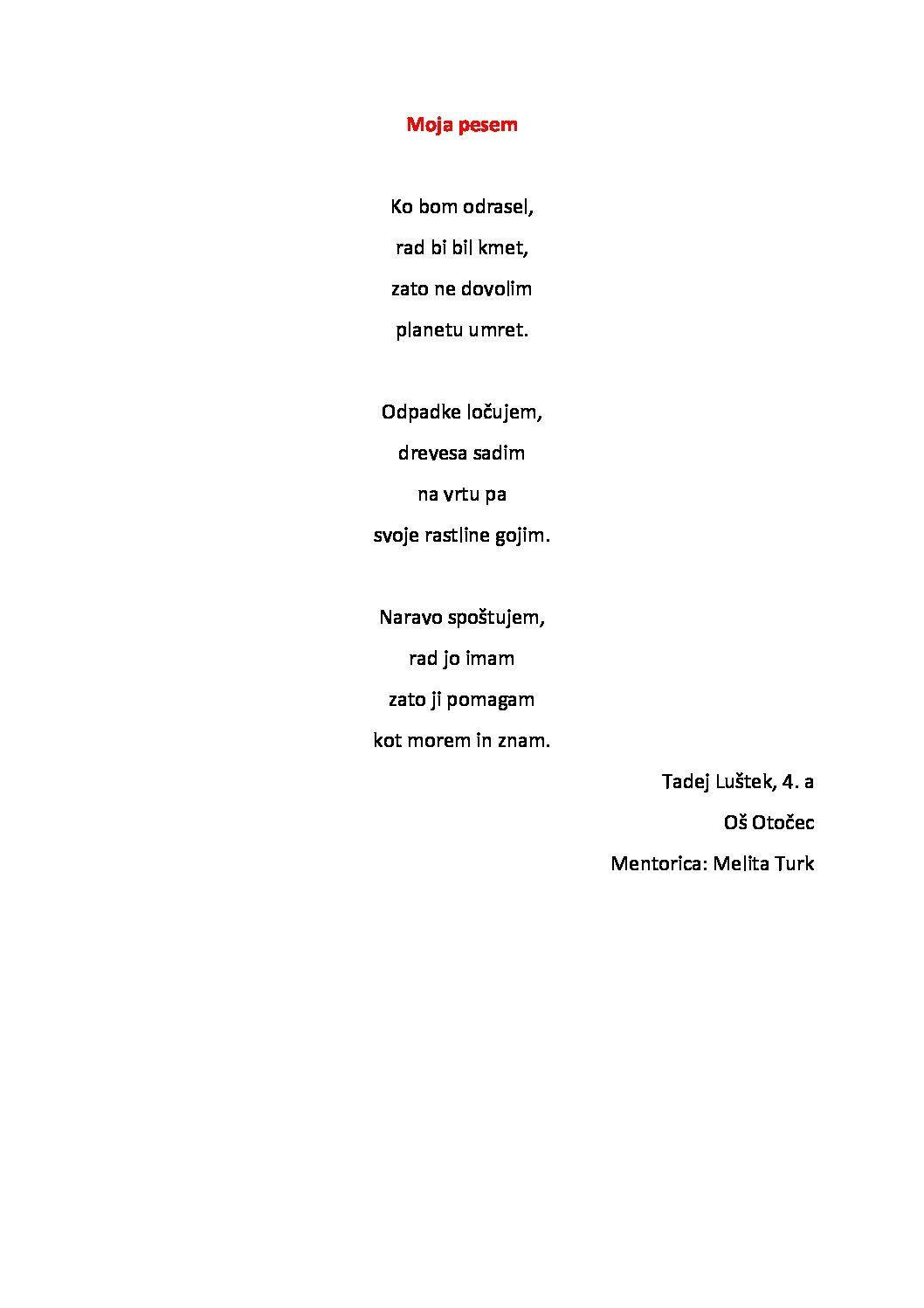 Tadej Luštek: Pesem