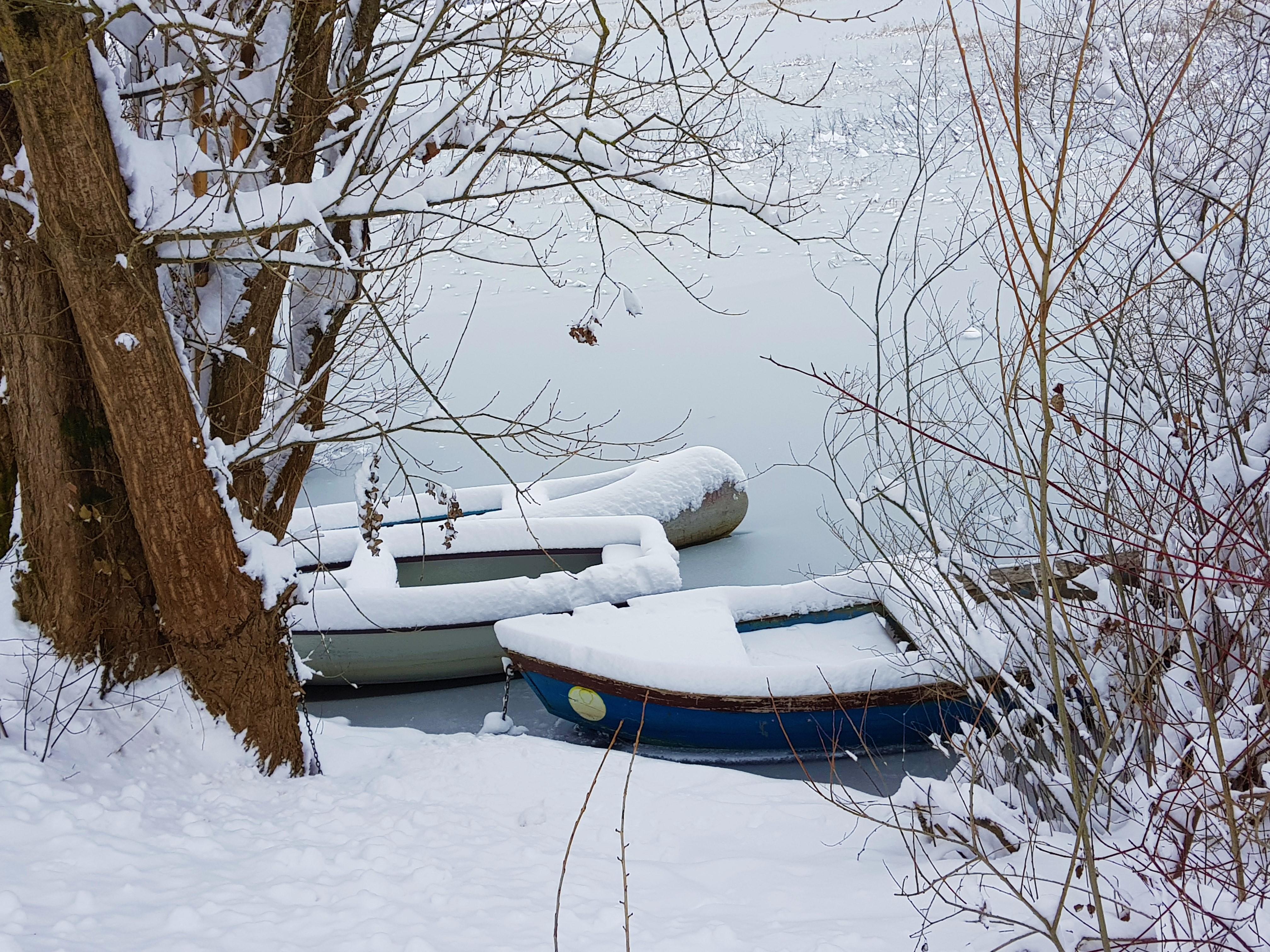 Pot vas popelje po zasneženem nasipu tik ob jezeru, kjer ribolov trenutno ni mogoč. Očitno.